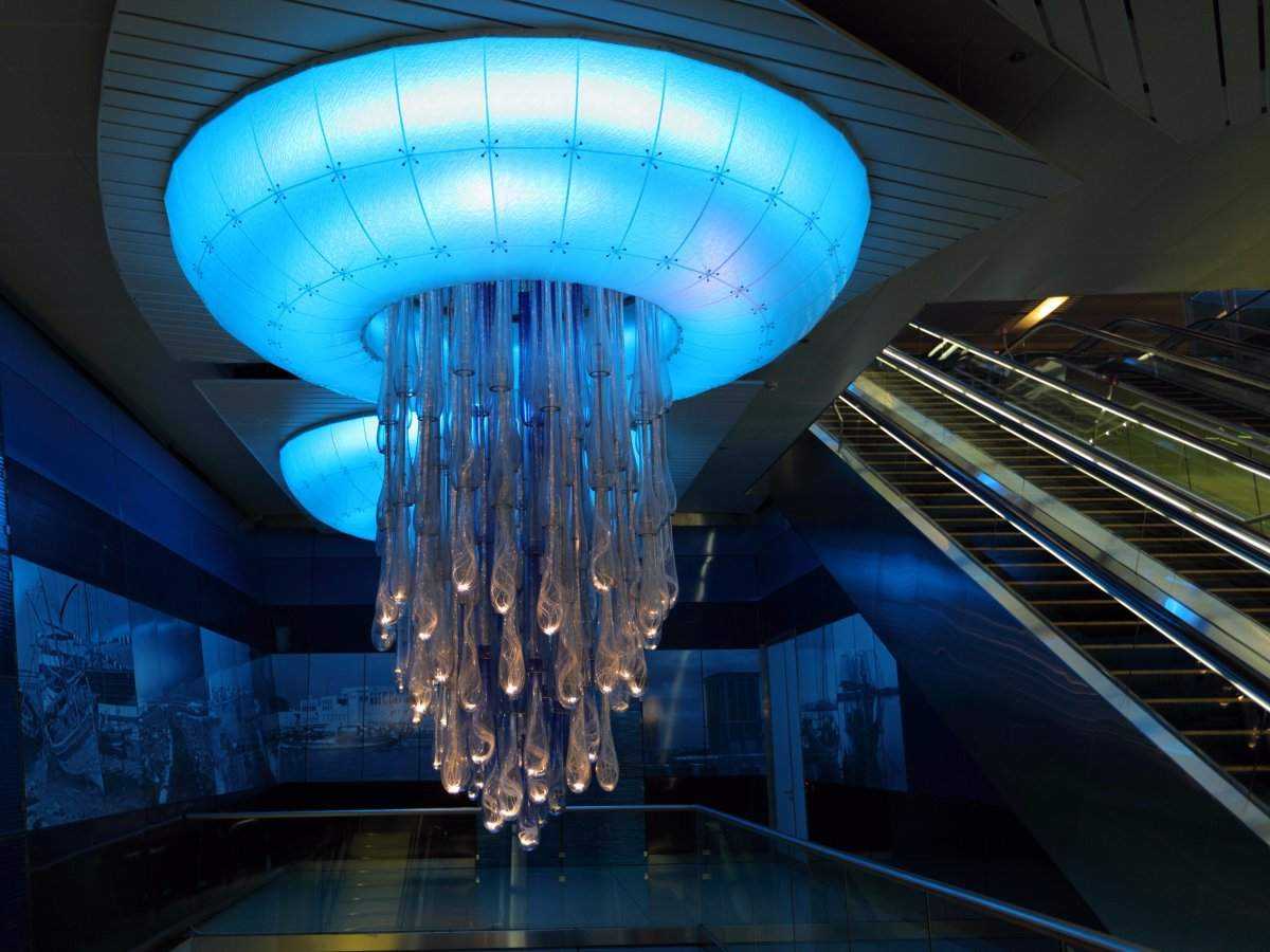 Beautiful metro station in Dubai